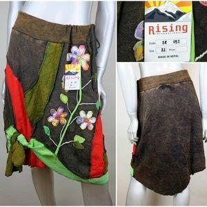 Rising International Nepal Floral Patchwork Skirt